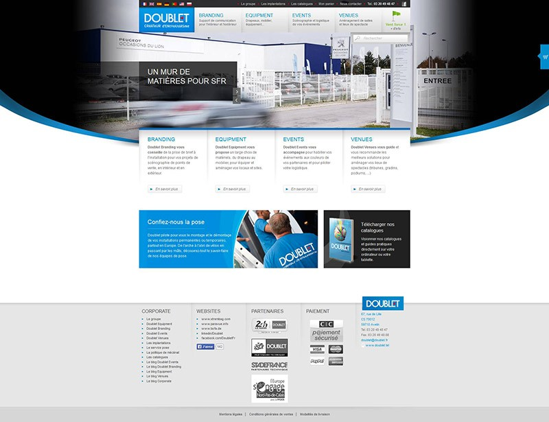 Catpure d'écran du site Doublet