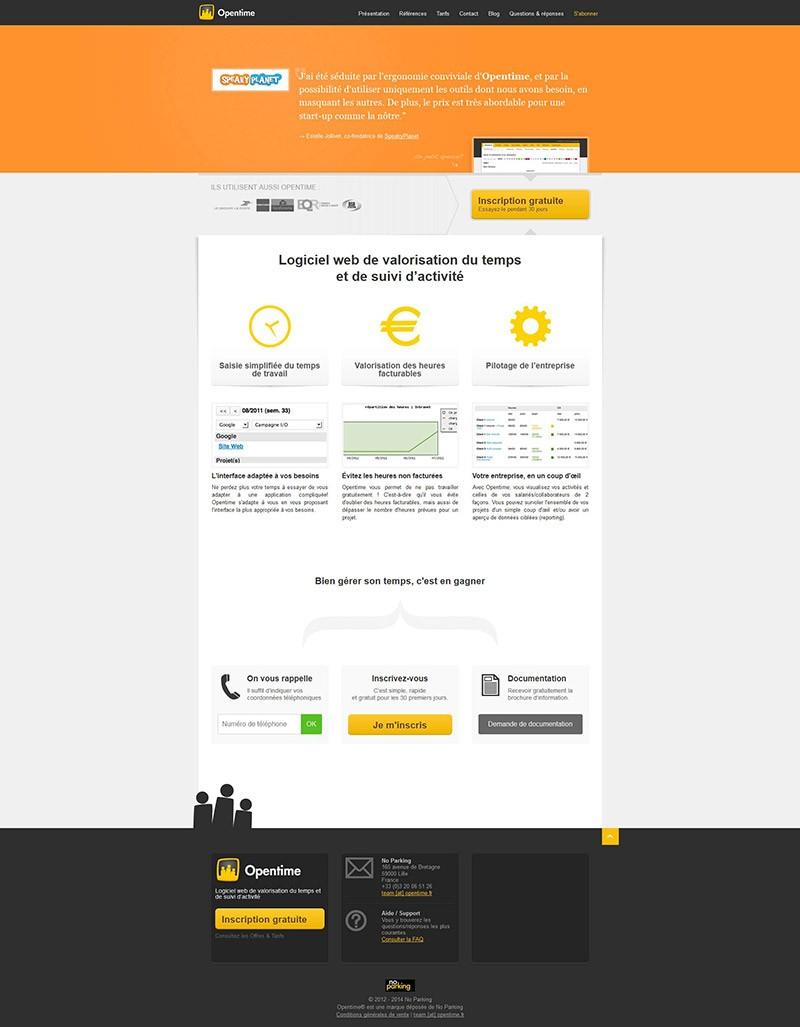 Catpure d'écran du site Opentime