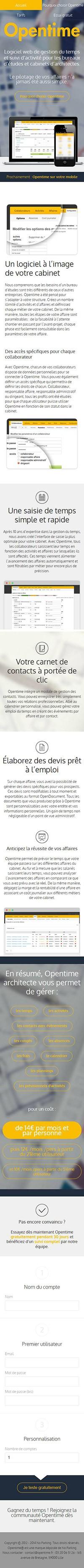 Catpure d'écran mobile du site Opentime métier