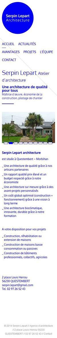 Catpure d'écran mobile du site Serpin Lepart