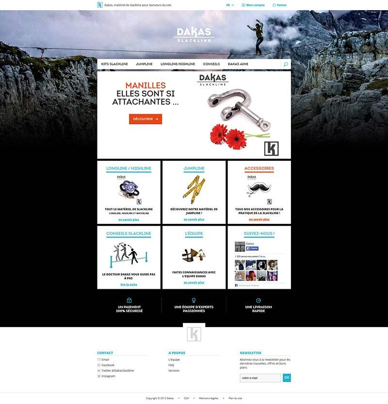 Catpure d'écran du site Dakas Slackline