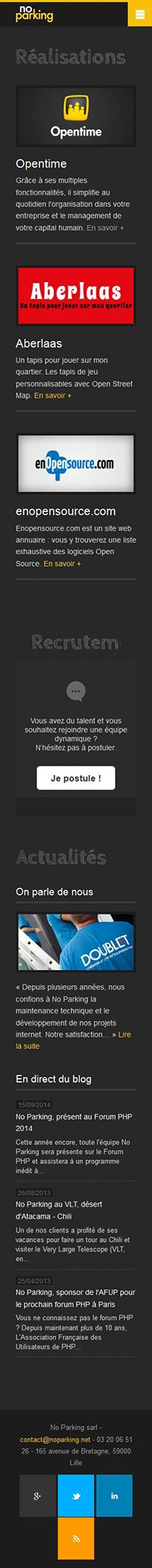 Catpure d'écran mobile du site NoParking
